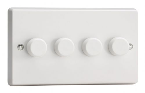 Varilight JQDP254W White Plastic 4 Gang 2-Way Push-On/Off LED Dimmer 0-120W V-Pro